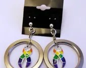 Pride ribbon computer hard drive spindle earrings