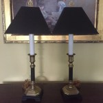 Reserve Ann Pair Brass Candlestick Buffet Lamps Matte Black Brass Table Lamps 28 Inch Bedside Table Lamps Black Shades Included
