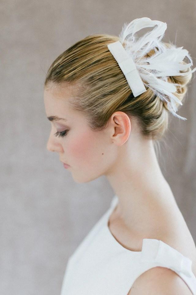 """wedding hair accessory , bridal feather piece - """"lulu"""""""