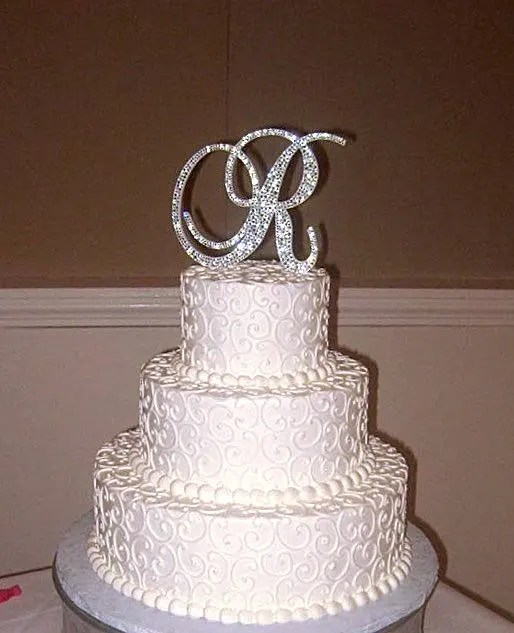 Bling Wedding Cake Topper Crystal Sparkle Rhinestone   Etsy image 0