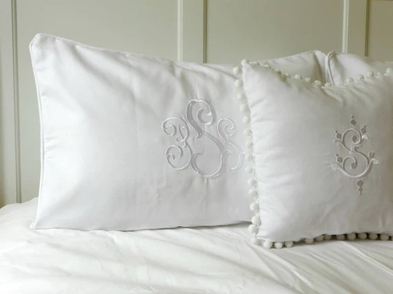 pillow shams piped with monogram white welting bed pillow personalized pillow sham pique bed shams