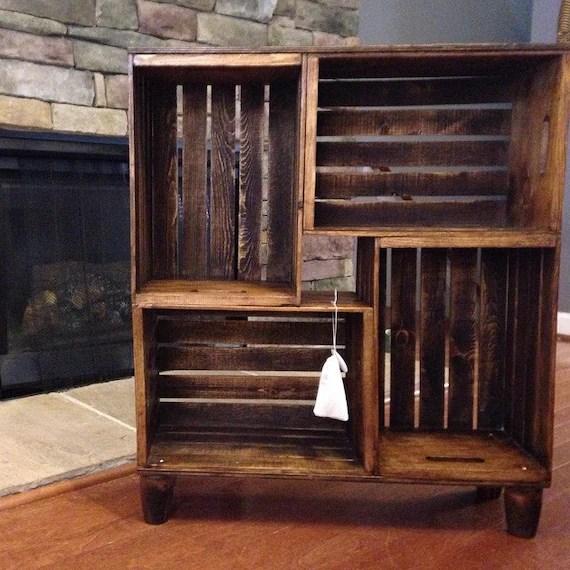 bibliotheque de caisse en bois