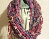 Fashion Crochet Scarf in 'Heirloom' w/Tie & Button