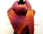 Asymmetrical Shawl/Scarf in 'Blood Orange' with orange, rust, purple, burgundy