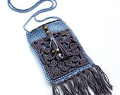 Boho Beaded Tassel Crossbody Bag in light blue and purple