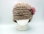 Velvet Flapper hat in 'Taupe' with pink flower clip
