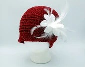 Red Velvet Charleston Hat with silver sparkles and white flower/feather removable clip