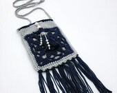 Boho Crossbody Beaded Tassel Bag in 'Denim' and 'Dove'