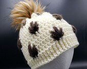 Fall Leaves Beanie with Faux Fur Pom in ivory and brown