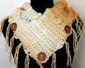 Fringed Cowl Scarf in Yellow and Ivory