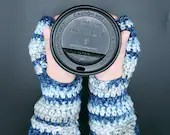 Blue and Gray Wrist Warmers in 'Float Along'