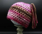 Toddler size 12-24 months Pigtail Beanie in pink and brown