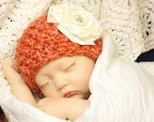 Girl's Size 0-3 Months Beanie in 'Bright Melon' w/Flower