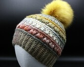 Theater Textured Beanie w/Faux Fur Pom Pom