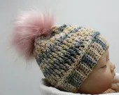 0-3 months Blue Yellow Pink Baby Beanie w/faux fur pom