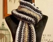 Long Classic Style Boho Scarf in black white ivory beige