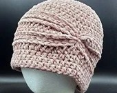 Blush Velvet Charleston Hat with silver sparkles