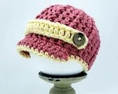 Newborn Brim hat with buttons in Pink and Yellow