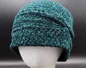 Teal Green Velvet Charleston Hat with silver sparkles