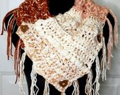 Rustic Cowl w/Fringe in Creamy Coral