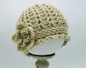 Baby Flapper Hat w/flower in 'Autumn Maize' -  Size 3-6 Months