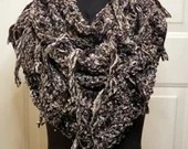 Thick Velvety Triple Infinity Scarf w/Fringe in 'Charcoal'