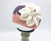 Baby Beanie Size 0 - 3 Months with flower in lavender, purple and coral