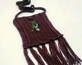 Mulberry Boho Crossbody Bag with Beaded Brass Butterfly Embellishment and Fringe