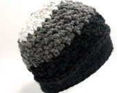 Thick Textured Large Unisex Beanie in Marble, Gray and Black