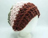 Thick Textured Slouch Beanie in rust, pink, and beige