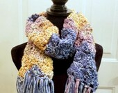 "Spring Wheel Scarf in ""Wild Pansy"" with yellow, purple, blue"