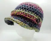 Rainbow Newsboy Cap with decorative buttons