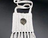 Gray Boho Crossbody w/Silver Leaf Embellishment