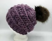 Bobble Beanie in 'Purple' w/Pom