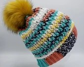 Painted Canyon Textured Beanie w/Faux Fur Pom Pom