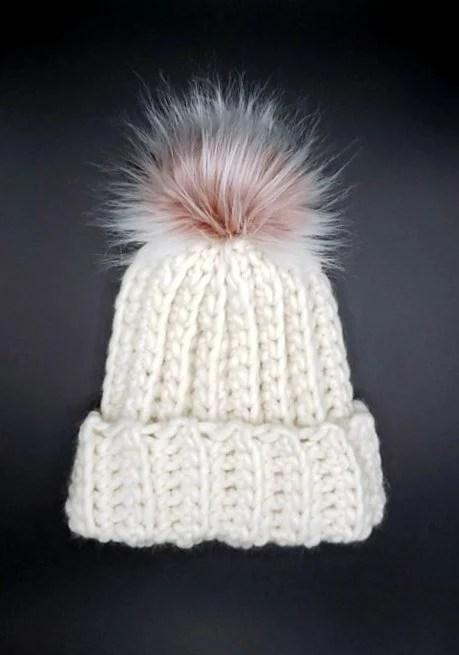 Cream Wool Beanie  w/faux fur pom pom