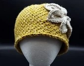 Rustic Flower Beanie in 'Okie Wheat'