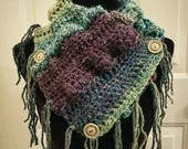 Purple and Teal Fringed Cowl Scarf w/buttons