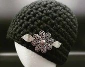Thick Black Beanie w/Metal Embellishments