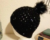 Black Sequin Beanie w/faux fur Pom Pom