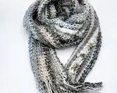 Long Classic Style Boho Scarf in blue brown beige ivory