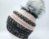 Merino Wool Beanie in Pink and Gray