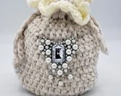 Velvet Ivory Drawstring 20s Evening bag w/Beaded Embellishments
