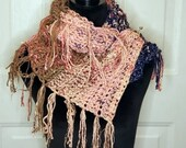 Messy Fringe Scarf/Shawl with pin