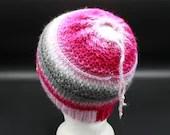 Drawstring Messy Bun/Ponytail Hat in Hot Pink, White, Gray