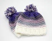 0-3 months Purple lavender Winter Hat w/pom pom
