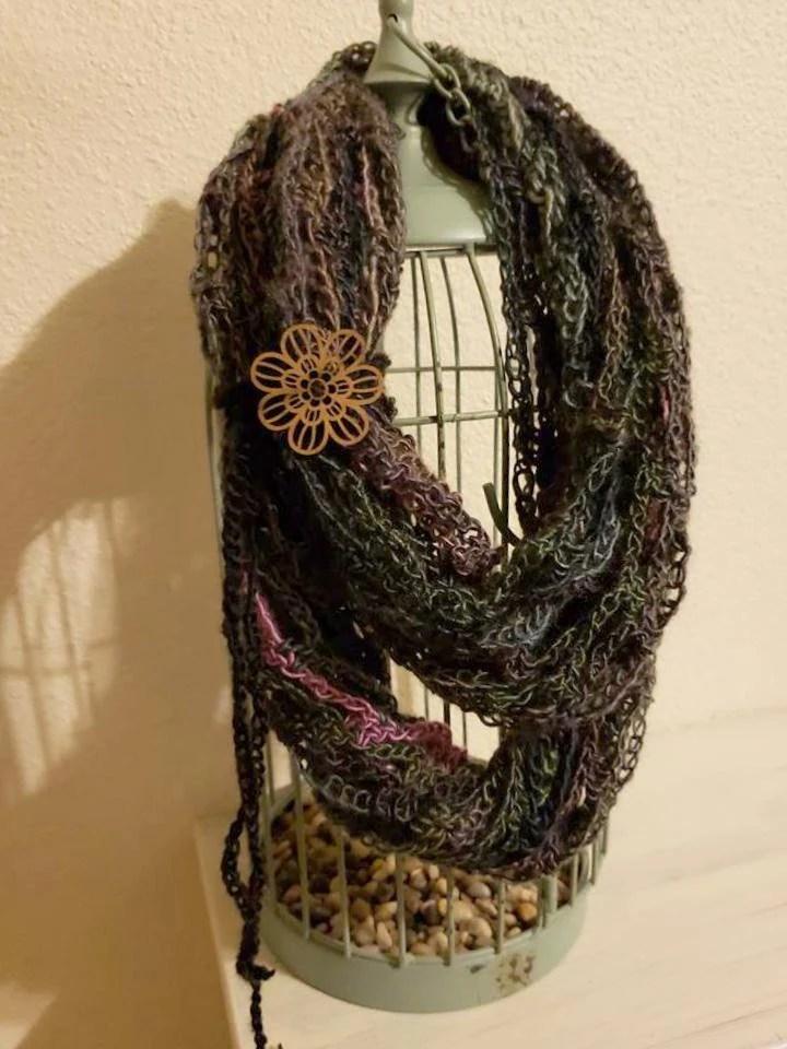Fashion Crochet Scarf in 'Echo' w/Tie & Button