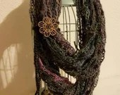 Fashion Crochet Scarf in 'Echo' w/Tie & Button