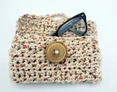 Handmade Crochet Glasses Case with button closure in speckled beige
