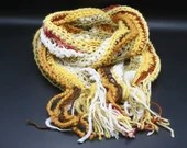 Long Classic Style Boho Scarf in yellow gold red white